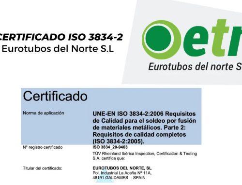 ETN obtiene de la certificación UNE-EN ISO 3834-2:2006