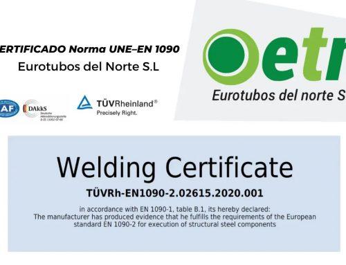Eurotubos del Norte S.L obtiene la norma UNE–EN 1090